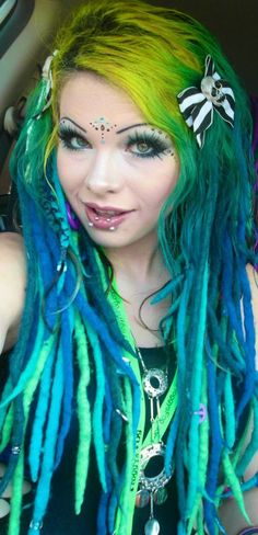 Love the colors! Yellow to green to blue! Mermaid dreads #dreadlocks #Colorful