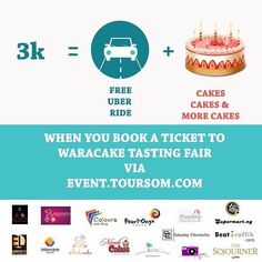 Get a free ride WaraCake Tasting  Fair when you book a ticket via EVENT.TOURSOM.COM. Be there in style and on time . Can't wait to see you all . #WTF2016 #WTF2016