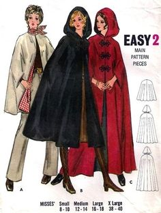 I must learn how to use patterns, I really want to make my own clothing... -kine 1960s Misses Hooded Cape Vintage Sewing Pattern