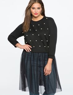 Pearl Embellished Sweatshirt with Tulle   Women's Plus Size Tops   ELOQUII