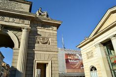 View to Porta Garibaldi Arch in a sunny day. Stock Photo