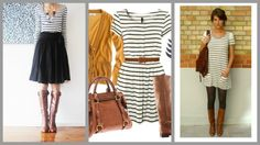 stripes with skirt & brown boots