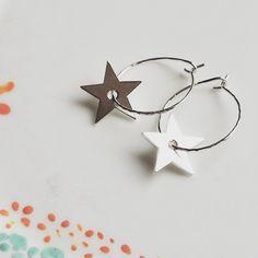 Star Hoop Earrings Hoop Earrings, Stars, Jewelry, Jewellery Making, Jewels, Sterne, Jewlery, Jewerly, Jewelery