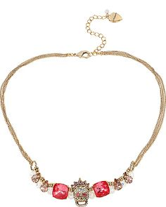 PROM PARTY SKULL PINK MINI FRONTAL NECKLACE MULTI accessories jewelry necklaces fashion