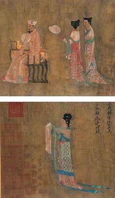 唐-张萱-明皇纳凉图    Painted by the Tang Dynasty artist Zhang Xuan 张萱.