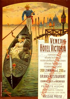 VENICE Italy Vintage Travel Poster