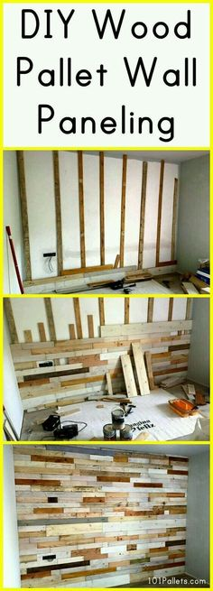 You Need to Know the 7 Bs of Building Bookcases DIY Wood Pallet Wall Paneling Diy Wood Pallet, Pallet Crafts, Wooden Pallets, Pallet Projects, Home Projects, Pallet Walls, Pallet Couch, Pallet Wall Bedroom, Diy Bedroom