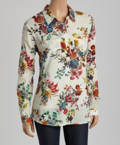 Ivory & Blue Floral Button-Up Top | Magazine Clothing