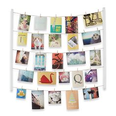 Umbra Hangit Photo Display DIY Picture Frames Collage Set Includes Picture Hanging Wire Twine Cords Natural Wood Wall Mounts and Clothespin Clips for Hanging Photos Prints and Artwork White * Check out this great product. (This is an affiliate link) Cadre Photo Design, Cadre Photo Diy, Diy Photo, Photo Ideas, Porte Photo Mural, Cadre Photo Mural, Marco Diy, Ideas Habitaciones, Exposition Photo