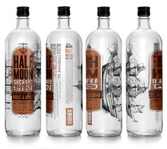Half Moon Orchard Gin - Love the drawing of the ship that curves around the bottle - fantastic design Beverage Packaging, Bottle Packaging, Brand Packaging, Design Packaging, Coffee Packaging, Food Packaging, Alcohol Bottles, Gin Bottles, Label Design