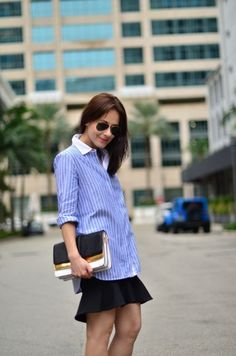 Zara oversize blue stripe shirt