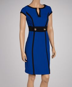 Royal Blue & Black Cap-Sleeve Dress | Daily deals for moms, babies and kids