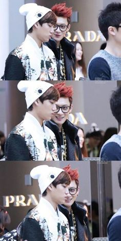 Tao looks like he told a bad joke and is waiting for Kai to laugh but Kai is just so done with him lol!