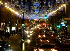 Christmas lights, illuminations, Rue de Rennes, Paris