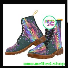 Love ❤️💯 Rave Shoes, Floral Combat Boots, Rave Mask, Festival Outfits, Festival Clothing, Custom Shoes, Timberland Boots, Hiking Boots, Lace Up