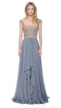 Reem Acra Embroidered Illusion Drop Shoulder Gown Blue Smoke in Blue (Blue Smoke) Lovely Dresses, Beautiful Gowns, Elegant Dresses, Beautiful Outfits, Formal Dresses, Gorgeous Dress, Vestidos Plus Size, Plus Size Gowns, Bridesmaid Dresses