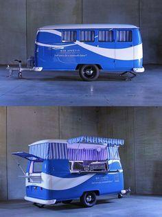 Meet the DubBox - the little retro trailer that makes a perfect food truck. Mini Camper, Vw T1 Camper, Campers, Food Trucks, Kombi Food Truck, Kombi Trailer, Food Trailer, Trailer Plans, Vintage Caravans