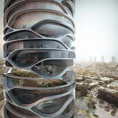 Gran Mediterraneo French architect David Tajchman recently released a conceptual design for a skyscraper to be built in Tel Aviv, Israel. The sky scrapper would house everything that a small community. Organic Architecture, Futuristic Architecture, Beautiful Architecture, Interior Architecture, Futuristic City, Futuristic Design, Parametrisches Design, Edge Design, Architecture Organique