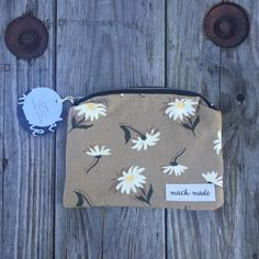 handmade vintage daisy zipper pouch by mackmadegoods on Etsy