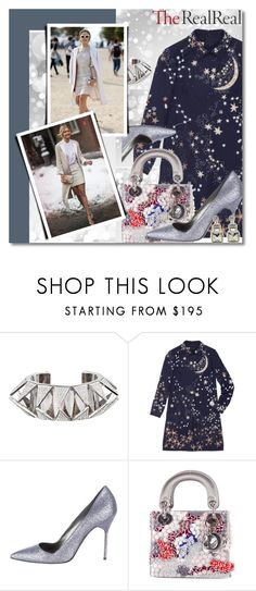 Holiday Sparkle With The RealReal: Contest Entry 2 by prigaut on Polyvore featuring Valentino, Manolo Blahnik, Christian Dior, Warehouse and Eddie Borgo