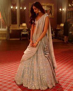 a still from her upcoming film, Mubarakan, Athiya was seen in an ornate Anita Dongre lehenga choli. Athiya Shetty's top Indian wear looks Indian Bridal Outfits, Indian Designer Outfits, Indian Dresses, Indian Clothes, Desi Clothes, Indian Lehenga, Lehenga Choli, Anarkali, Pakistani