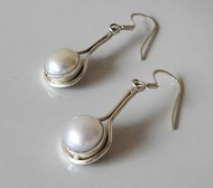 White Pearl Sterling Silver gemstone earrings  by ShambhalaJewelry on Etsy