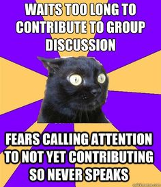 """""""Anxiety Cat"""" Group discussions"""