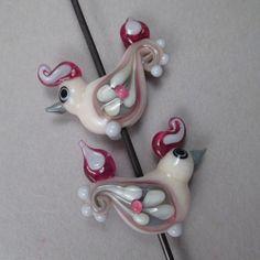 Handgemachte Kunst Glas Lampwork Bead paar von Patti Cahill SRA--Blush, Fuchsia, grau und Elfenbein