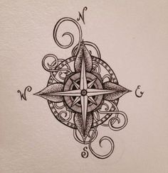 I designed this compass tattoo for a friend of mine. I designed this compass tattoo for a friend of mine. I designed this compass tattoo for a friend of mine. Lena Tattoo, 1 Tattoo, Tatoo Art, Body Art Tattoos, Tattoo Drawings, New Tattoos, Tattoos For Guys, Sleeve Tattoos, Cool Tattoos
