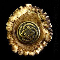 Handmade Deer Antler Crown Kilt Pin With Celtic Knot Cap Badge Brass | celtique_creations - Accessories on ArtFire