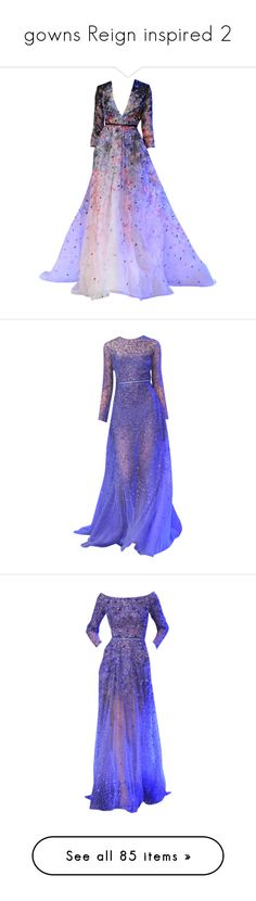 """""""gowns Reign inspired 2"""" by casualjoy ❤ liked on Polyvore featuring dresses, gowns, long dresses, vestidos, purple gown, purple evening gowns, purple ball gowns, long purple dress, purple dresses and edited"""