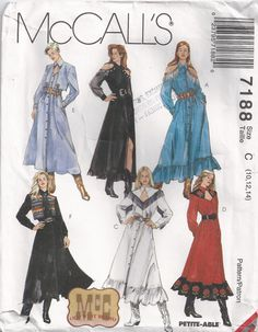 Western Style Dress Vintage Sewing Pattern Size 10 To by Rosie247, $4.99