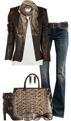 Brown Leather Jacket & Flares