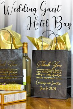 Gift Bags for Wedding Guests - Surprise your out of town wedding guests with a bag of goodies to enjoy during their stay for your weekend or destination wedding. #weddingguests #weekendwedding Wedding Guest Bags, Wedding Gifts For Guests, Beach Wedding Favors, Diy Wedding, Wedding Ideas, Trendy Wedding, Wedding Planning, Wedding Book, Fall Wedding