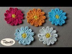 Flores a ganchillo (margaritas 1) - YouTube