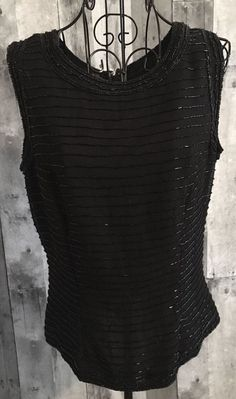 Vintage Look Beaded Top Blouse Tank Fully Lined Black Sparkle Size Medium #Unbranded #Top