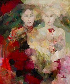 Lucinda and Florinda (painting by Françoise de Felice) Art And Illustration, Figure Painting, Painting & Drawing, Art Amour, Art Du Monde, Figurative Kunst, Kunst Online, Art Design, Beautiful Paintings