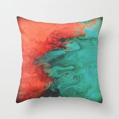Teal and Coral Throw Pillow - Pillow cover - Modern home decor Throw Pillow Cover made from spun polyester poplin fabric, a stylish statement Home Decor Colors, Wood Home Decor, Diy Home Decor, Wood Interior Design, Interior Design Living Room, Coral Throw Pillows, Accent Pillows, Modern Style Homes, Textiles