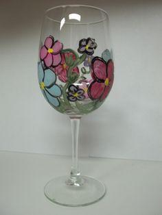 Hand Painted Wine Glasses Flowers | via katie williams