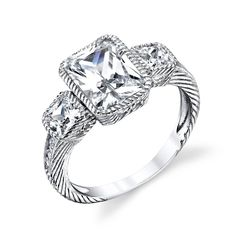 925 Sterling Silver Radiant Cut Center CZ bridal engagement ring jewelry set with highest quality simulated diamond cubic zirconias SOE005