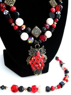 Harry Potter Collection: Red Owl Double Strand Necklace by HuntJewelz