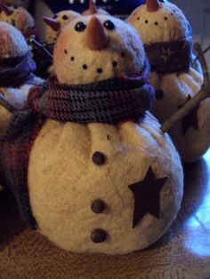 Primitive Snowman by SchoolStPrimitives on Etsy