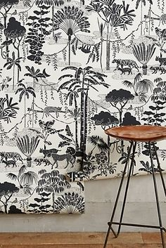 Jungle Dream Wallpaper by Aimee Wilder in Black, Wall Decor at Anthropologie Leopard Wallpaper, Funky Wallpaper, Graphic Wallpaper, Bathroom Wallpaper, White Wallpaper, Wallpaper Ideas, Foyer Wallpaper, Motif Jungle, Jungle Art
