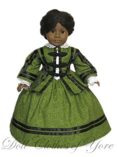 'Elizabeth Keckley' Dress, Jacket w/frog closures, Skirt & Blouse w/Lace Collar, Doll Clothes of Yore, $36.95