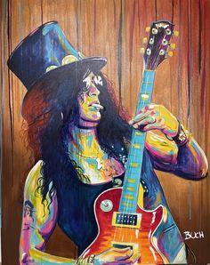 Slash farverig portræt maleri Malerierne - Allan Buch Malerier Rockmusik maleri med guitar