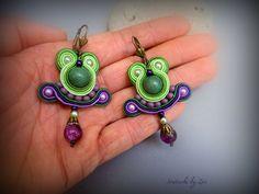 SMALL SOUTACHE EARRINGS green purple dangle by elrinconcitodezivi
