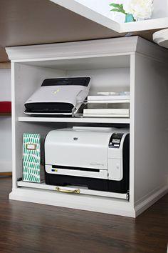 23 trendy home office organization printer storage Guest Room Office, Home Office Space, Bedroom Office, Home Office Design, Home Office Furniture, Home Office Decor, Closet Office, Ikea Closet, Office Designs