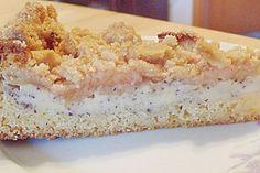 Apfelkuchen mit Vanille-Mohn-Pudding und Streuseln
