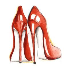I love red shoes! Red Fashion, Fashion Boots, Fashion Art, Fashion Design, Fashion Illustration Shoes, Illustration Mode, Fashion Illustrations, Shoe Sketches, Fashion Sketches