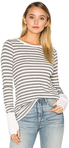 Love this Michael Stars Striped Thermal Long Sleeve with Thumbholes. Comes in blush and chalk colors.